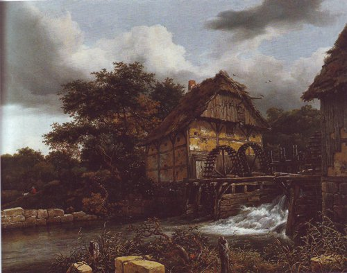 Two sater mills and an open sluice | Jacob Van Ruisdael | oil painting