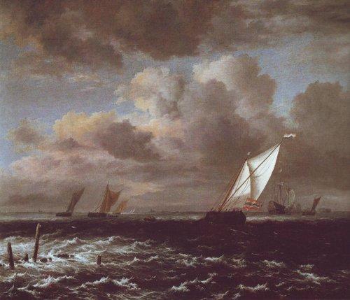 Vessels in a choppy sea | Jacob Van Ruisdael | oil painting