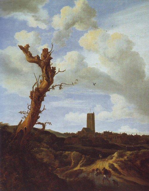 View of egmond aan zee with a blasted elm | Jacob Van Ruisdael | oil painting