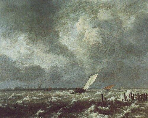 View of het lj on a stormy day | Jacob Van Ruisdael | oil painting