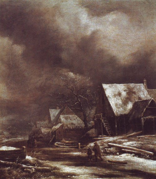 Village in winter | Jacob Van Ruisdael | oil painting