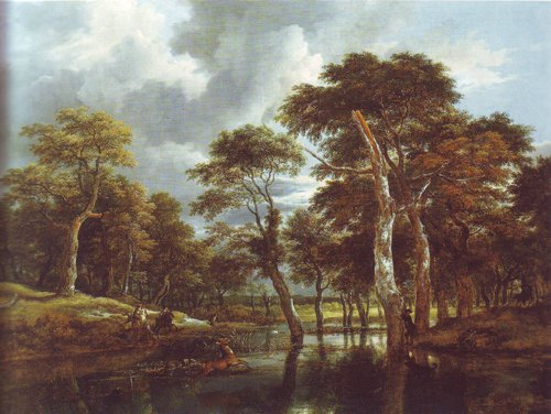 Waterfall in a hilly wooded landscape | Jacob Van Ruisdael | oil painting