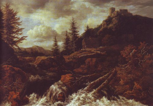 Waterfall in a mountainous landscape with a ruined castle | Jacob Van Ruisdael | oil painting
