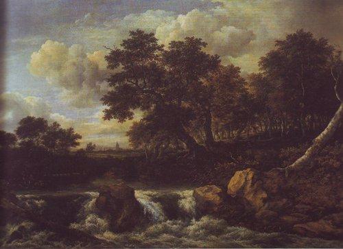 Waterfall near oan oak wood | Jacob Van Ruisdael | oil painting