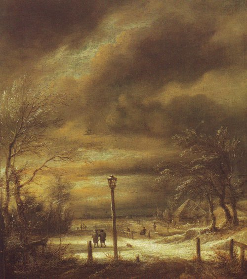 Winter landscape with a lamp-post and a distant view of haarlem | Jacob Van Ruisdael | oil painting