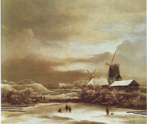 Winter landscape with two windmills | Jacob Van Ruisdael | oil painting