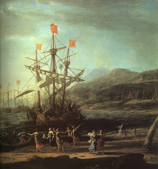 The Trojan Women Setting Fire to their Fleet   Claude Lorrain   oil painting