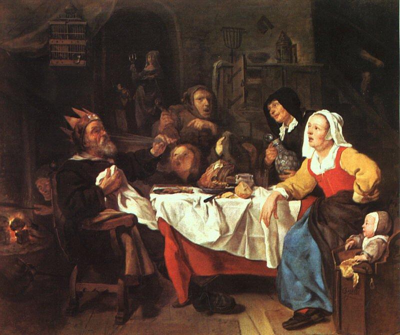The Bean Feast   Gabriel Metsu   oil painting