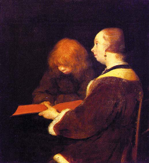 THE READING LESSON | Gerald TER BORCH | oil painting