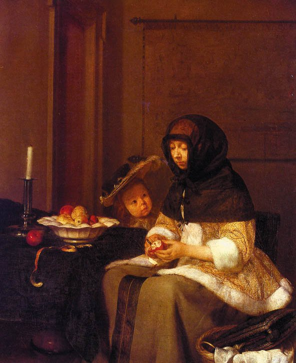 WOMAN PEELING APPLES | Gerald TER BORCH | oil painting