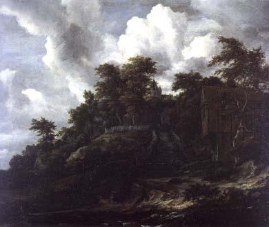 J Wooden hillside with a view of Castle Bentheim | Jacob Van Ruisdael | oil painting