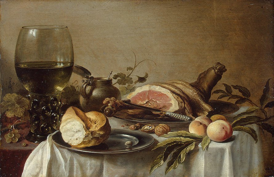 Breakfast with ham 1647 | Pieter Claesz | oil painting