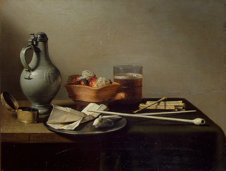 Still life with clay pipes 1636 | Pieter Claesz | oil painting