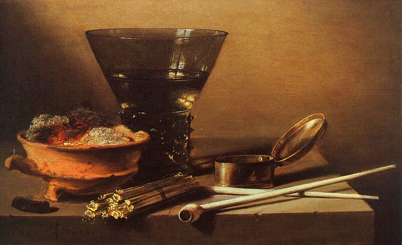 Still Life with Wine and Smoking Implements 1638   Pieter Claesz   oil painting