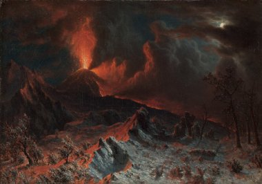 Mount Vesuvius at Midnight | Albert Bierstadt | oil painting
