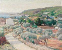 Overlooking the Mediterranean   Alexander Warshawsky   oil painting
