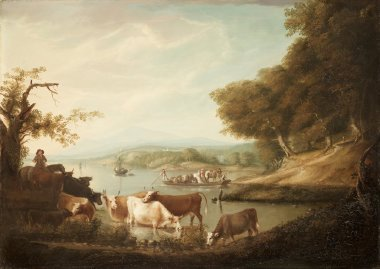 A Calm Watering Place Extensive and Boundless Scene with Cattle | Alvan Fisher | oil painting