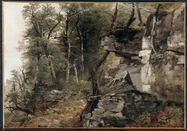 Trees on a Rocky Hillside   Asher Brown Durand   oil painting