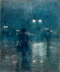 Fifth Avenue Nocturne | Childe Hassam | oil painting