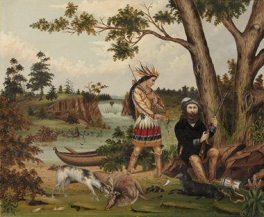 Hunter and Indian Guide | C L Woodhouse | oil painting