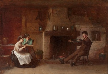 Winding Yarn Interior of a Nantucket Kitchen | Eastman Johnson | oil painting
