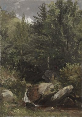 Trees and a Stream on a Hillside   Jasper F Cropsey   oil painting