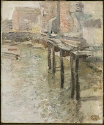 Deserted Wharf The Old Mill at Cos Cob | John Henry Twachtman | oil painting