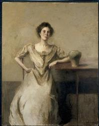 Woman Seated at Table | Thomas Wilmer Dewing | oil painting