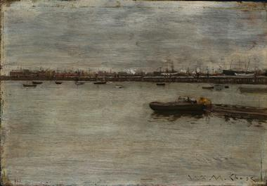 Repair Docks Gowanus Bay | William Merritt Chase | oil painting