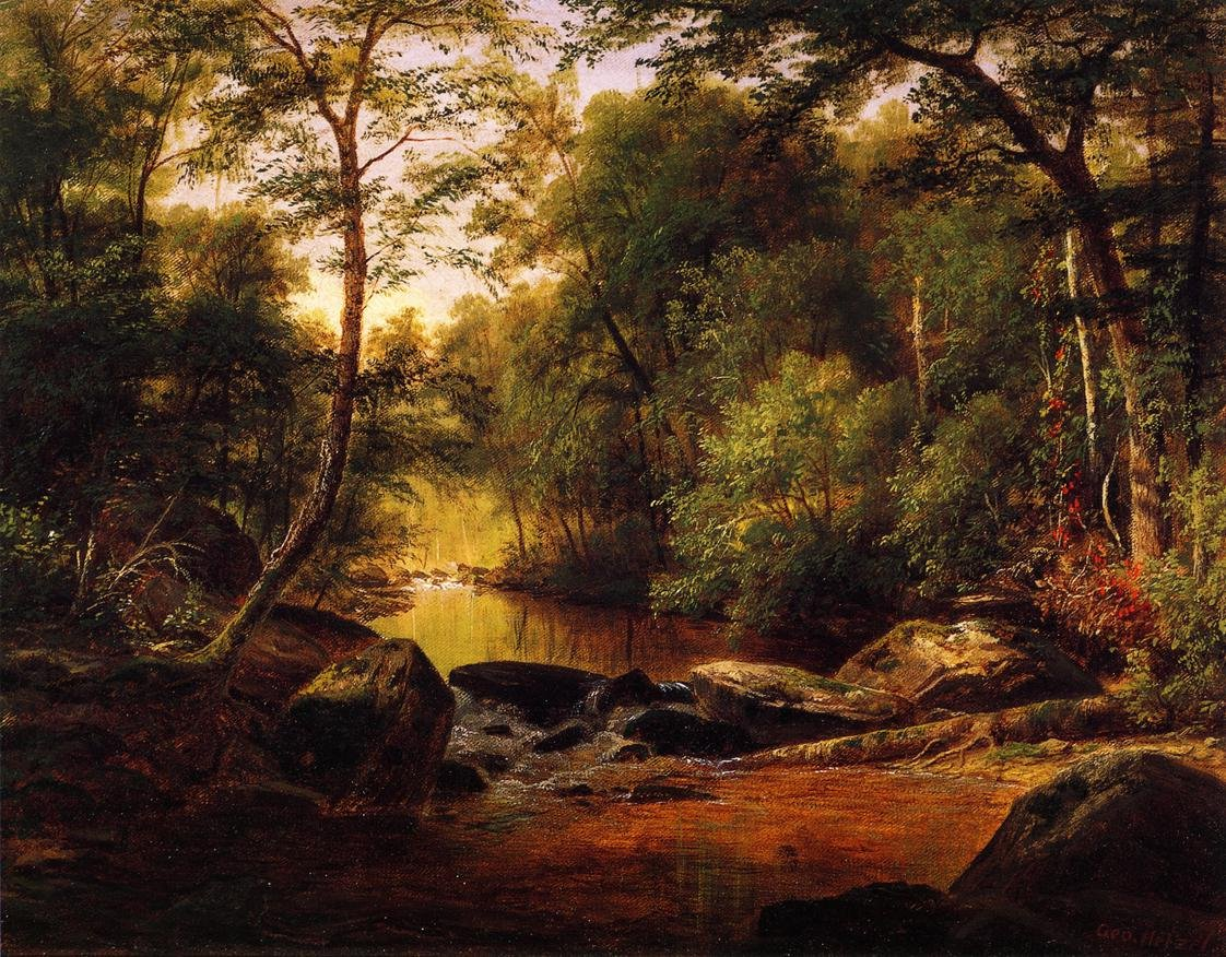 A River Landscape 1870 | George Hetzel | oil painting