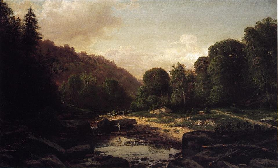 Boy Fishing in Mountain Stream Mifflin County 1869 | George Hetzel | oil painting