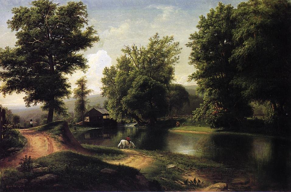 Boy on a White Horse at Edge of Pond 1860 | George Hetzel | oil painting