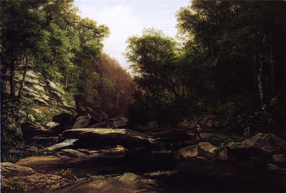Fishing Near Shade Run Furnace 1869 | George Hetzel | oil painting