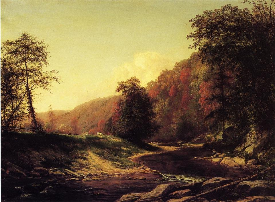Fishing on the Brandywine near Wilmington 1872 | George Hetzel | oil painting
