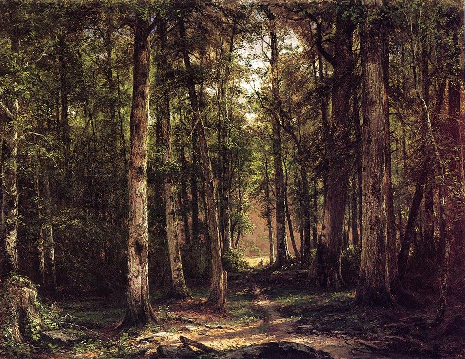 Forest Scene with Mother and Child 1877 | George Hetzel | oil painting