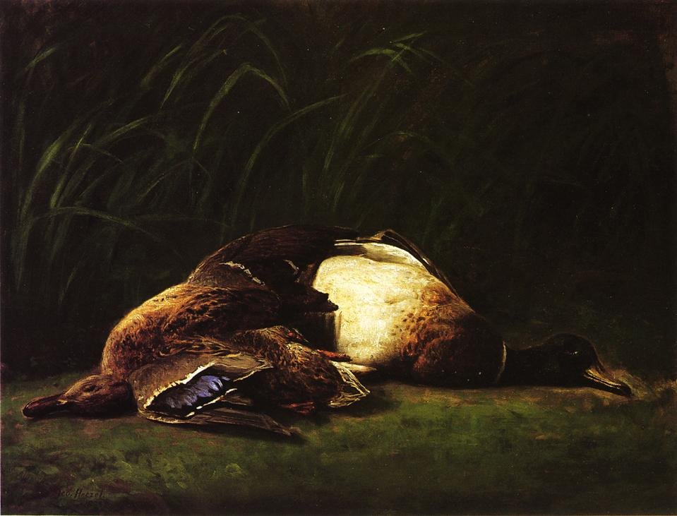 Nature Mort Hen and Drake Mallard 1883 1884 | George Hetzel | oil painting