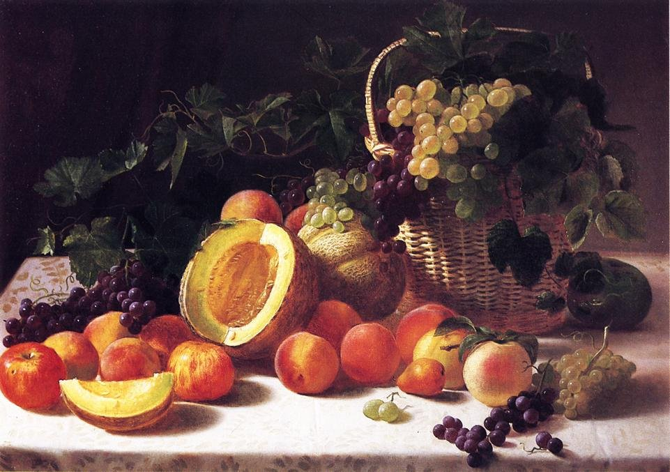 Still Life with Basket of Grapes 1850 | George Hetzel | oil painting