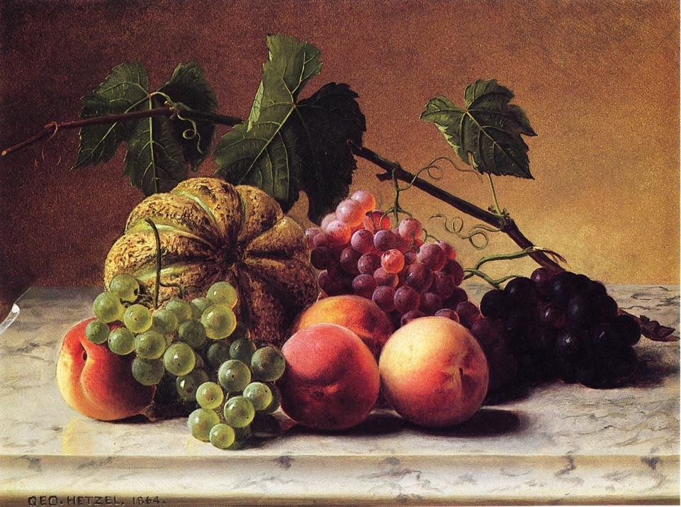Still Life with Cantaloupe Grapes and Peaches 1864 | George Hetzel | oil painting