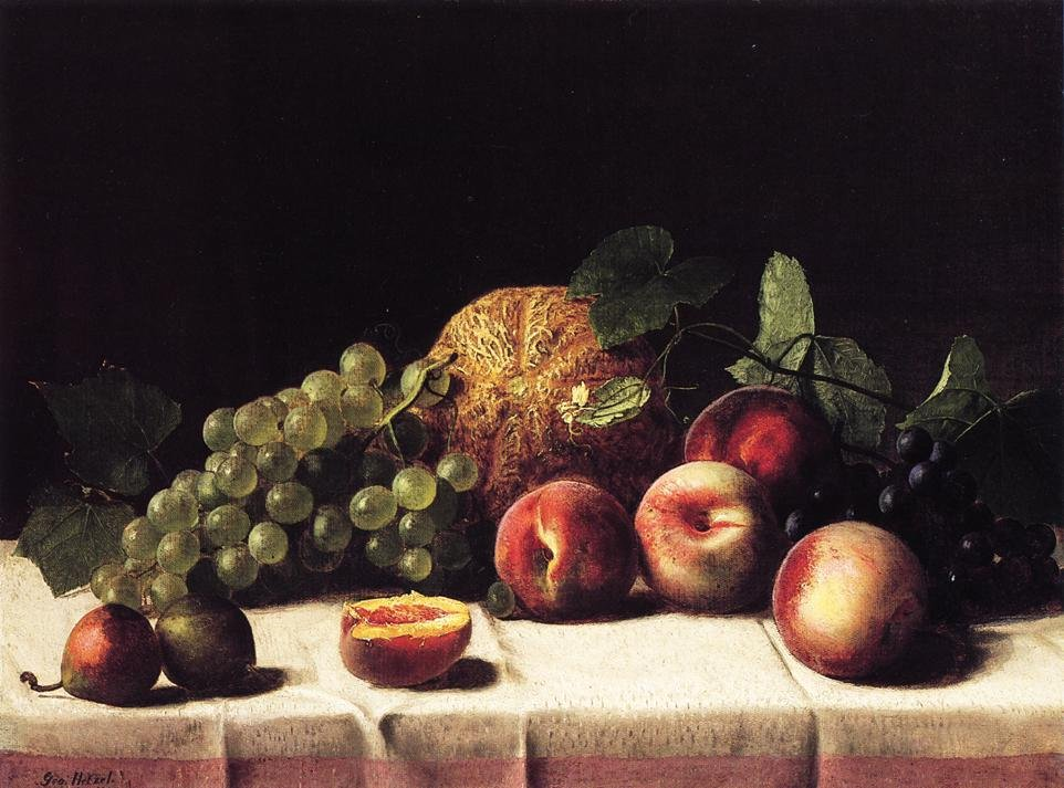 Still Life with Cantaloupe Peaches and Grapes 1865 | George Hetzel | oil painting