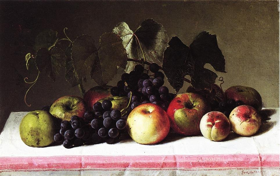 Still Life with Concord Grapes and Apples 1879 | George Hetzel | oil painting