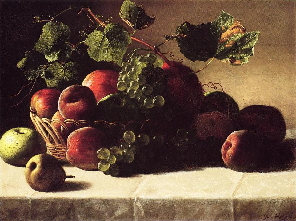 Still Life with Grapes and Peaches 1866 | George Hetzel | oil painting