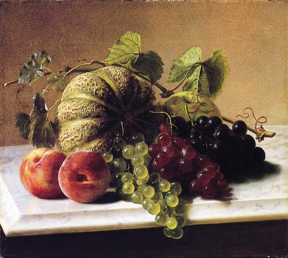Still Life with Melons Grapes 1864 | George Hetzel | oil painting