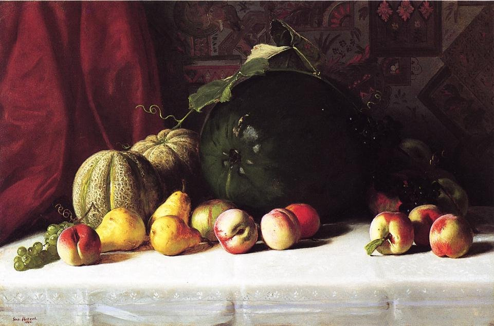 Still Life with Melons Pears and Apples 1882 | George Hetzel | oil painting