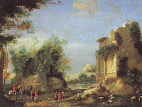 Landscape With Ruins And Figures | Filippo D Angeli | oil painting