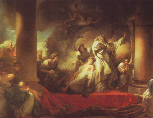 The High Priest Coresus Sacrifices Himself To Save Callirhoe | Fragonard | oil painting