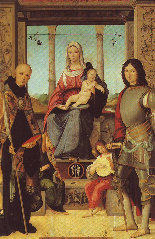 The Virgin And Child With Saints Benedict And Quentin And Two Angels | Francesco Marmitta | oil painting