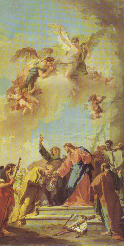 Christ Giving The Keys Of Paradise To St Peter | Giambattista Pittoni | oil painting
