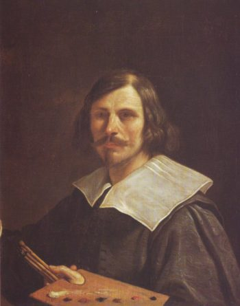 Portrait Of The Artist Holding A Palette | Guercino | oil painting