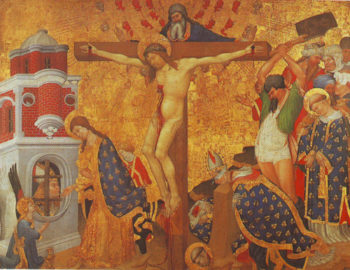 Christ On The Cross With The Martyrdom Of St Denis | Henri Bellechose | oil painting