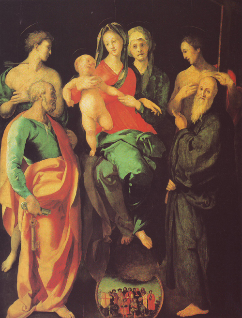 The Virgin And Child With Four Saints And The Good Thied | Jacopo Carrucci | oil painting